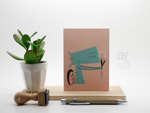 Carte postale / Dragon fleuri