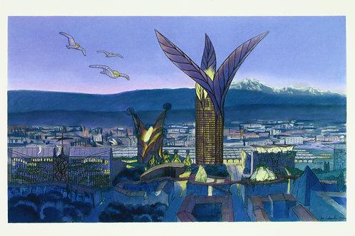 Carte postale / Lyon 2100 nuit - Luc Schuiten