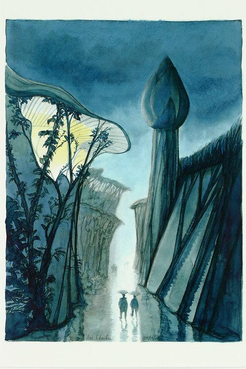 Carte postale / Lotus sous la pluie - Luc Schuiten