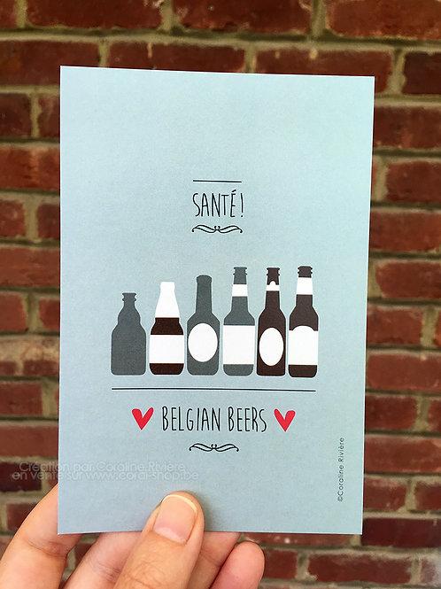 Carte postale / Santé ! Belgian beers