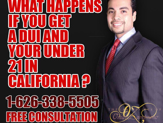 What happens if you get a DUI and your under 21 in California ?