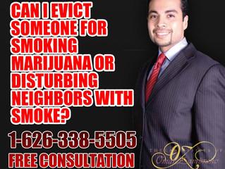 Can I evict someone for smoking marijuana or disturbing neighbors with smoke?