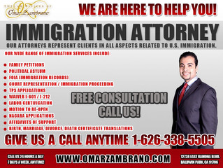 Call Omar Zambrano For Legal Advice w/ Your Immigration Case