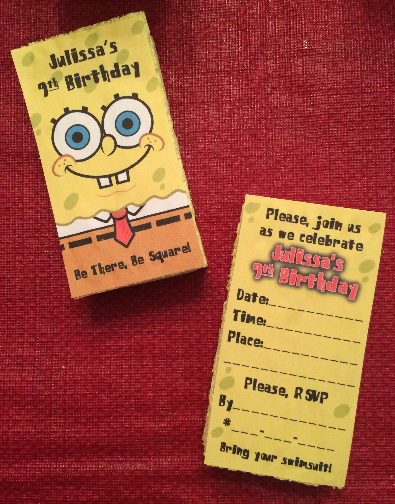 SpongeBob Invitations