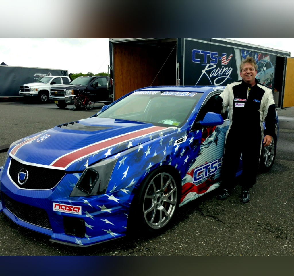 Driver, Alan Cohen with the newly wrapped Patriot Missile The Patriot Missile's at NJMP with NASA NE (May 5-7, 2015)