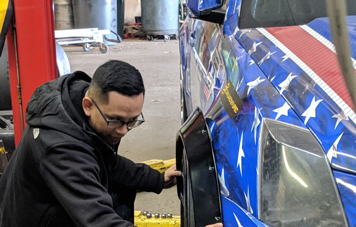 JRox Fender Rolling of NJ measuring fit for fender rolling (Feb 2019)