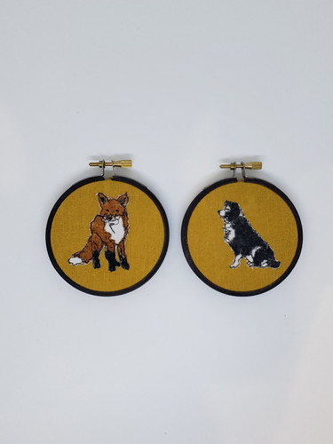 Fox and Farm Collie on Gold