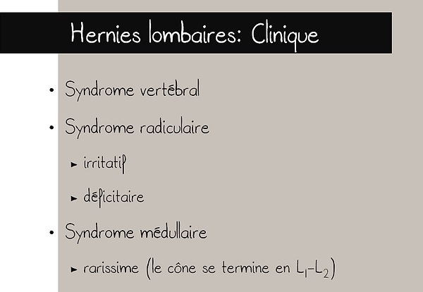 Hernies discales lombaires: clinique