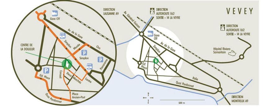 Plan d'accès au Centre de la Douleur Riviera