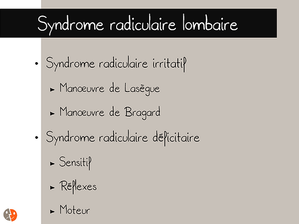 Syndrome radiculaire lombaire: évaluation