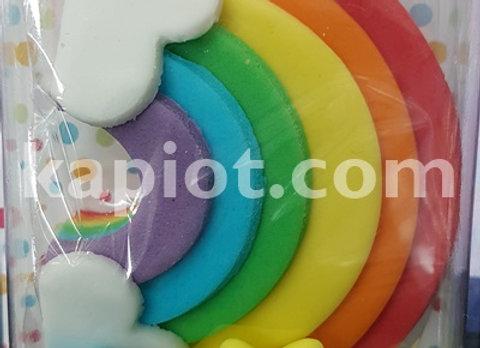 קשת בענן קישוט אכיל לעוגה מבצק סוכר