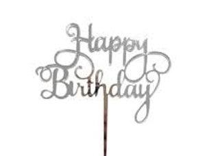 טופר אקרילי יום הולדת שמח כסף