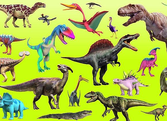 דף טרנספר לעוגה דינוזאורים 6803