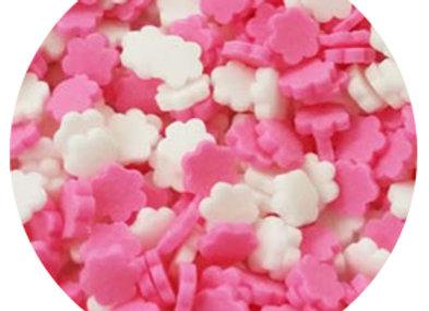 סוכריות קישוט לעוגה פרחים ורוד לבן