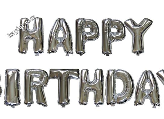 בלון אותיות צבע כסף לניפוח באוויר  happy birthday