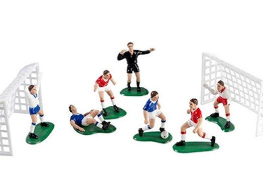 סט שחקנים ושערים לקישוט עוגה כדורגל
