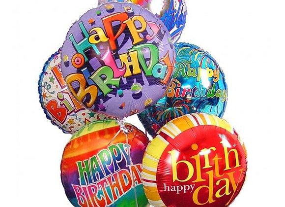 בלוני הליום מטאליים מנופחים יום הולדת שמח