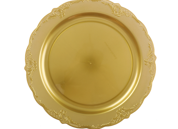 """צלחת חגיגית צבע זהב דגם וינטאז 23 ס""""מ"""