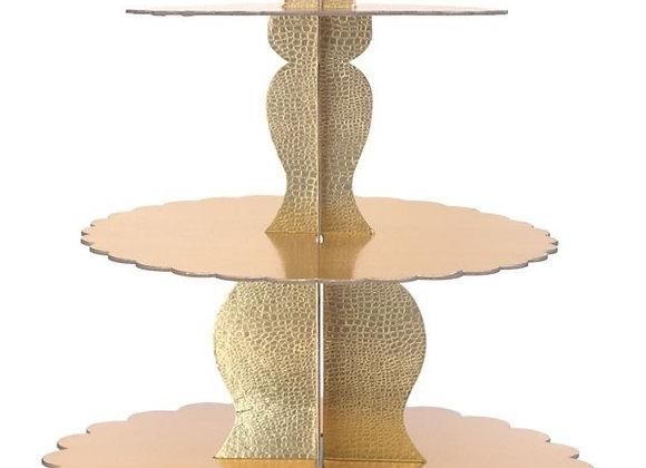 מעמד לקאפקייקס או לכוסות קינוח 3 קומות זהב