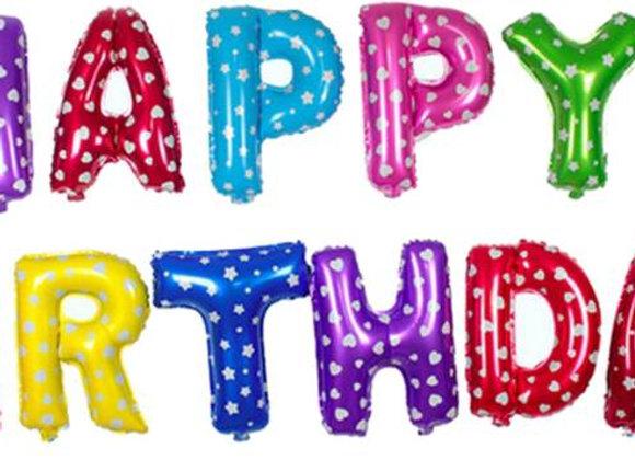 בלון אותיות HAPPY BIRTHDAY צבעוני