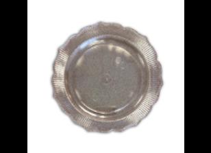 צלחות קריסטל עם נצנצים כסף גודל 26 סמ