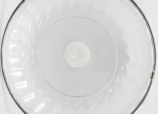 מגש קריסטלי קשיח עגול עם פס כסף קוטר 27