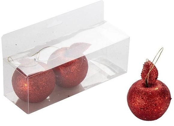 שלישיית תפוחים בינוניים אדומים לקישוט