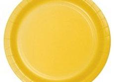 """צלחות פלסטיק  צהוב גודל 23 ס""""מ"""