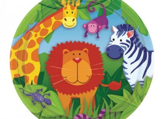 צלחת נייר קטנה חיות בג'ונגל