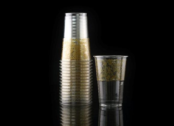כוס מעוטרת פרחים זהב