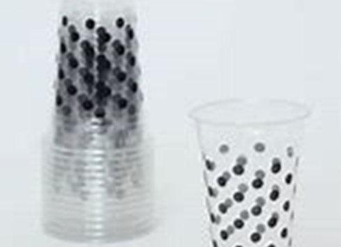 כוסות פט שקופות נקודות שחורות