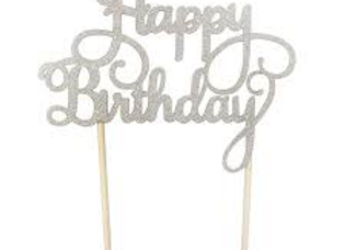 טופר קרטון יום הולדת שמח כסף