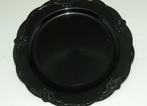 """צלחת חגיגית צבע שחור דגם וינטאז 26 ס""""מ"""
