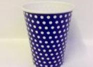 כוס דגם נקודות כחול לבן