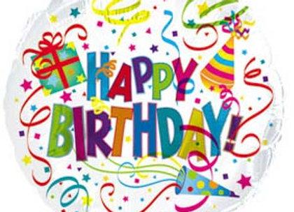 """בלון יום הולדת שמח 45 ס""""מ דוגמת קונפטי כולל ניפוח"""