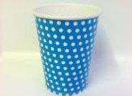 כוס דגם נקודות תכלת לבן