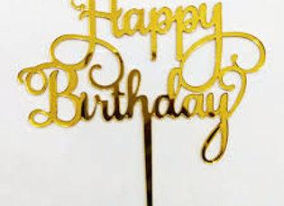 טופר אקרילי זהב יום הולדת שמח