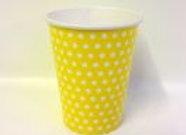 כוס דגם נקודות צהוב לבן