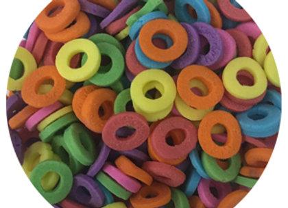 סוכריות קישוט לעוגה עיגולים חלולים  צבעוניים