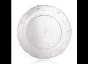 """צלחות קריסטל עם נצנצים זהב גודל 26 ס""""מ"""