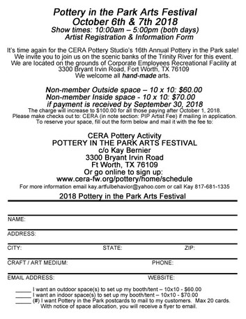 CALL FOR ARTISTS: PIP (Pottery in the Park)
