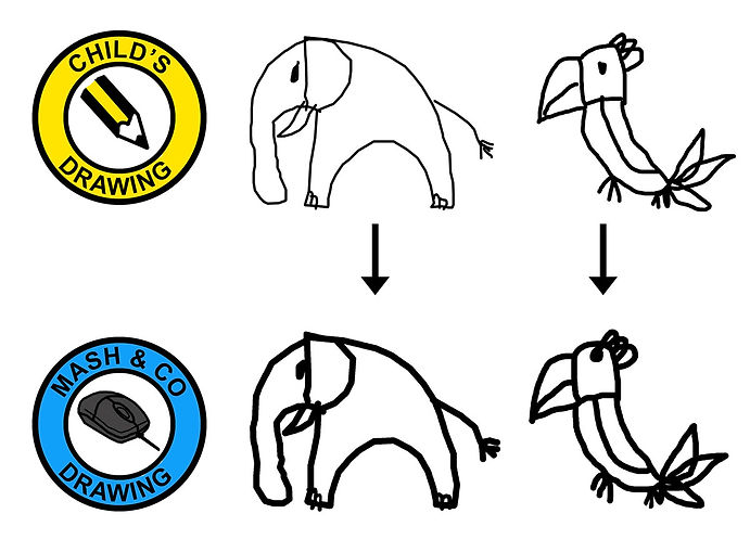 Illustration of an elephant and a parrot drawn by a child and copy of these drawings but with slight alterations. It is to show how Mash & Co. make small changes to the child's drawing. The outline of the drawing is thickened, 'floating' bits like the eyes have been moved so they are touching the outline of the body.