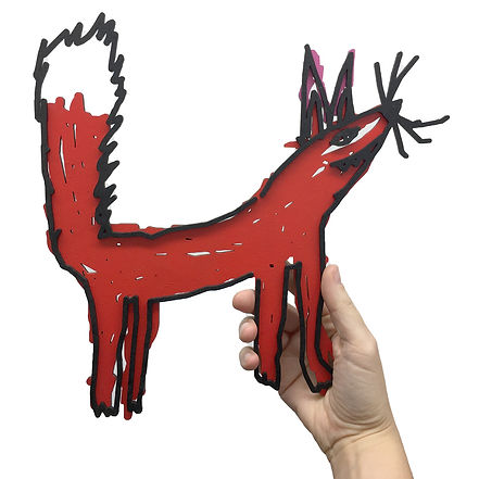 photograph of a laser cut kids drawing of a fox.