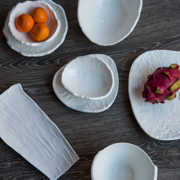 The prevail collection offers a wide variety of unique plates, platters and bowls.