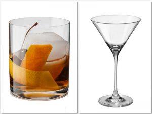 Vaso Whisky liso y copa coctel