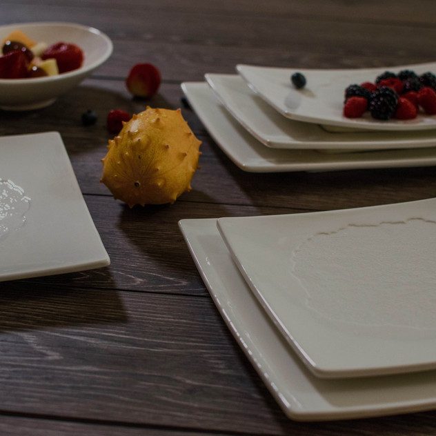 The create collection of porcelain plates is available in oval, square and rectangle.