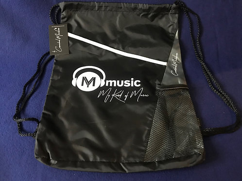 Signature Black Nylon Drawstring Backpack