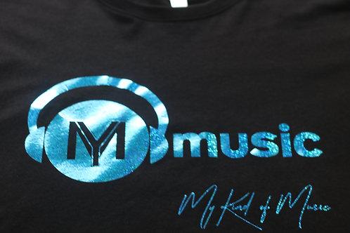 Signature Black Soft Style T-Shirt (Holographic Aqua Print)