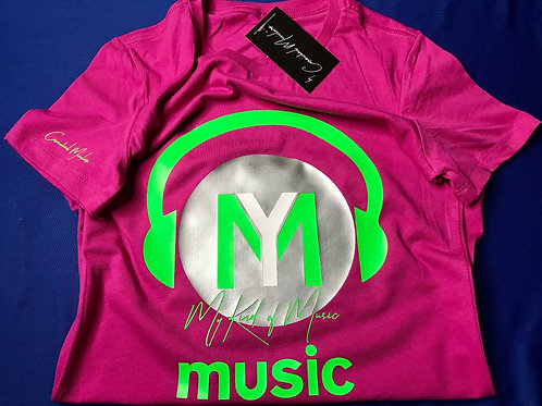 Signature Soft Pink Expressions T-Shirt (Neon Green & Silver)