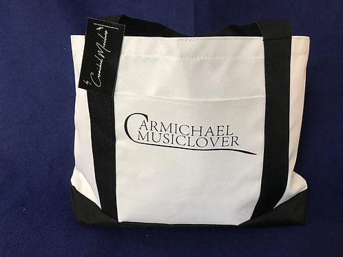 Beach Tote (White with Black Straps) with front pocket